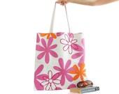 Big Summer Beach Bag, Floral print bag, Canvas Tote, Big sturdy bag, Pink, Retro bag, Shoulder bag, Cotton tote