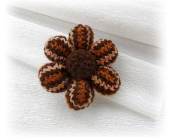 Crochet Brooch -  Brown Crochet Flower - Corsage Brooch