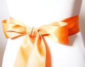 2 Inch Wide Double Faced Posh Sash Belt - Bridal Bridesmaids Flower Girl Sashes Belts - Wedding Dress Ribbon Belt - Orange Pumpkin