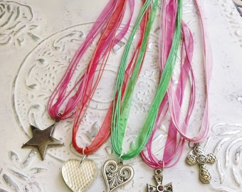 Set of 5 Adorable Ribbon Necklaces Heart Cross Star Red Green Pink