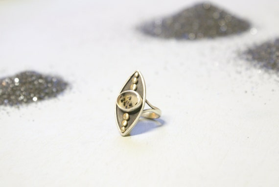 the Evil Eye ring - dendritic Moss Agate