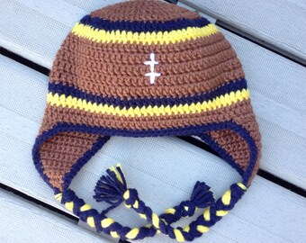 University of Michigan Boy Football Ear-flap Hat or Girl Football Ear-flap Hat -  *All Sizes!!
