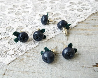 Tiny Studs Earrings Blueberries