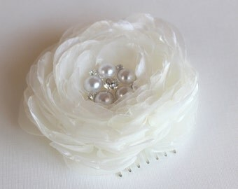 Ivory wedding hair flower/bridal hair flower -wedding hair accessories - organza bridal hair clip