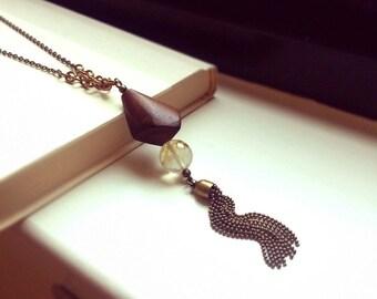 Antique brass tassel necklace,  Kite shape wood bead, Fire cherry quartz, Natural magnesite, Brass tassel, brass cable chain