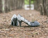 Wedding Shoes - Grey Bridal Shoes, Grey Wedding Heels, Grey Pumps, Bridal Heels, Low Wedding Heels, Grey Shoes with Ivory Lace. US Size 6