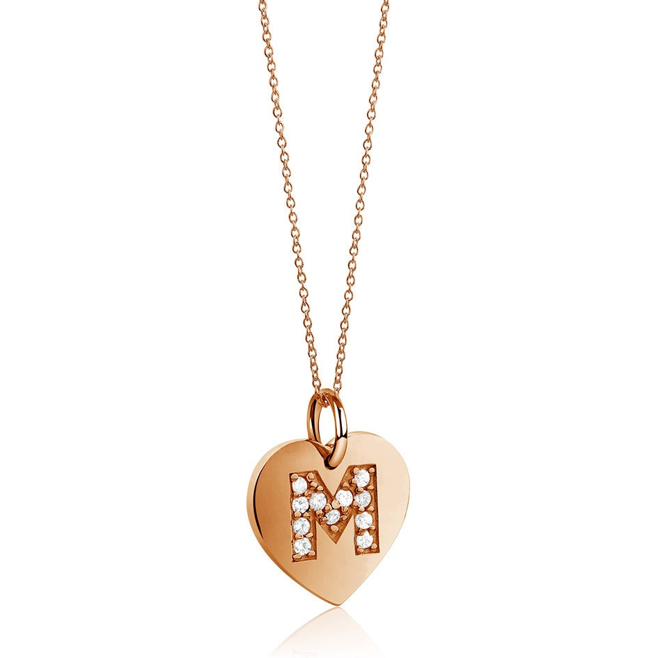 monogram necklace charm necklace initial by mimicdesign