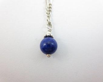 6 mm Lapis Lazuli Pendant - Sterling Silver