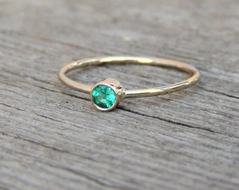 Diamond Cut Emerald Gemstone Ring -Tiny Silver, 14k Yellow Rose or White Gold Ring, May Birthstone Stacking or Pinky Ring Hand-Made to Order