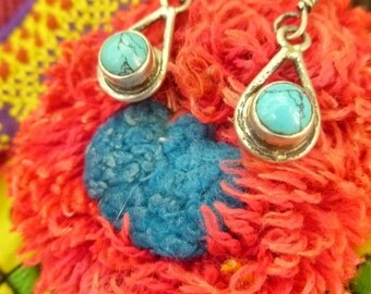 Turquoise & Sterling Silver Ethnic Earrings. Gemstone Ethnic Jewelry