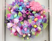 HUGE!!!! - SPRING Wreath - RAZ - Easter Wreath - Deco Mesh Wreath - Deco Mesh Easter Wreath - Door Hanging - Wall Decor - Egg Wreath