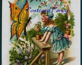 Sweetest DIGITAL Download, Vintage Postcard ,young girl in a FLOWER garden with pretty butterfly