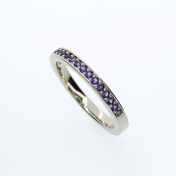 amethyst ring wedding band eternity ring white gold
