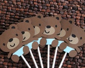 Teddy Bear Baby Shower Cupcake Toppers - Boy Teddy Bears - Set of 12 cupcake toppers