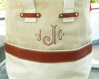 Jute Canvas Leather Tote bag -  Monogram or  Personalized