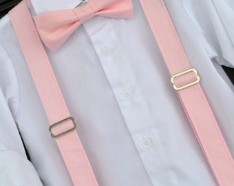 Little Boy Bowtie and Suspenders, Solid Light Pink Bowtie, peony pink bowtie, childs blush bowtie, boys pink suspenders, toddler pink bowtie