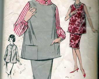 Vintage 1960's Advance 3004 Maternity Slim Skirt, Blouse and Boatneck Tunic with Pockets Sewing Pattern Size 14 Bust 34""