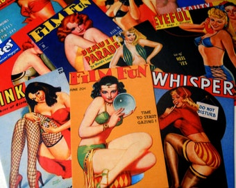 Peepshow Stickers - 16 Stickers featuring Vintage Pin-Up Magazine Covers, Retro Kitsch Rockabilly Burlesque Sticker Pack, Ephemera Pack