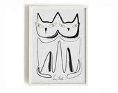 Black cats print Cat poster 3 - black cats print - art print by nicemiceforyou