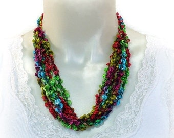 Tropical Colors Ladder Yarn Necklace, Fiber Necklace, Boucle Yarn Necklace, Crochet Jewelry, Vegan Necklace, Lariat Necklace