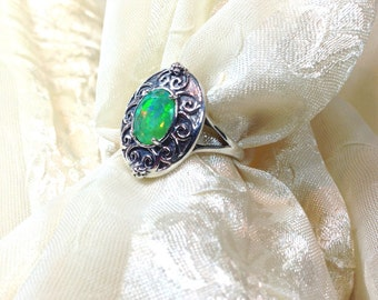 Celtic Green Opal Ring in Oxidized Sterling Silver Handmade Jewelry