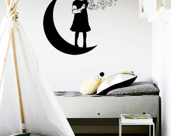 Girl on the Moon - Wall Sticker