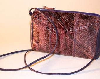 Vintage 80s Purple Snake Handbag