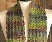 Hand Crocheted Scarf - Midnight Mist (Purple Plum Smoke Blue Green)