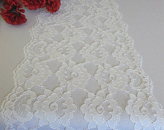 """White lace table runner wedding lace table runner white italian lace 7"""" wide bridal shower party decor lace wedding decor"""