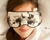 Eye pillow, filled with organic buckwheat and essential oils with black watercolor illustration