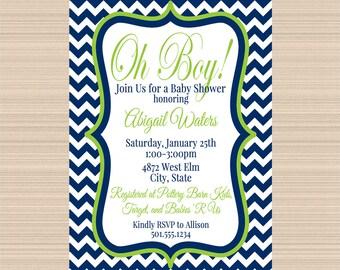 Oh Boy Baby Shower Digital Invitation, Navy and Lime Green Chevron