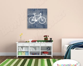 Kid's Bedroom, home or office Wall Art. Printable Navy Blue Bike. Bicycle Art Print in 16x20 and 20x20in. Suit square frame or landscape.