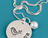 mothers necklace, hand stamped personalized necklace, birthday gift for mom, christmas gift for mom, mama bird necklace, custom gift for mom