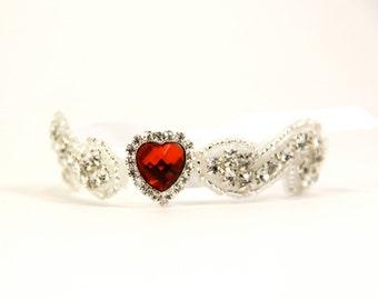 Bracelet, Valentines Gift, Bridal Bracelet, Rhinestone Bridal Cuff, Bridesmaid Jewelry ~ Ruby Bracelet