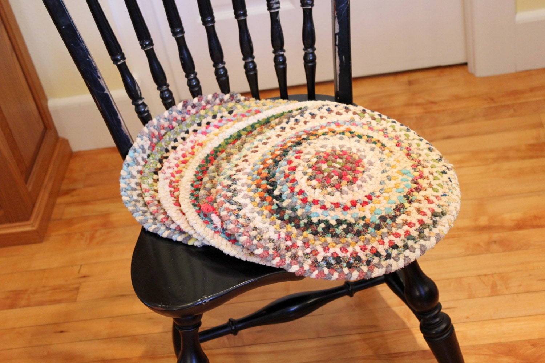 Set Of 6 Vintage Braided Rag Chair Or Seat Cushions Chair