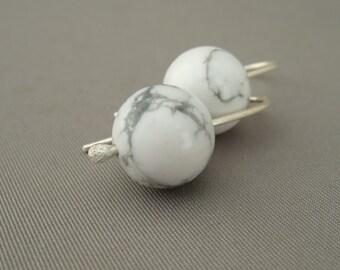 White Gemstone Earrings - Howlite and Sterling Silver Earrings