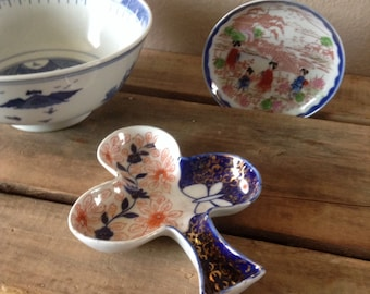 Three Blue Asian Dishes - Asian Dishes - Vintage Blue Dishes - Rice and Noodle Bowl - Bowl Collection - Small Plate Japan - Club Shaped Dish