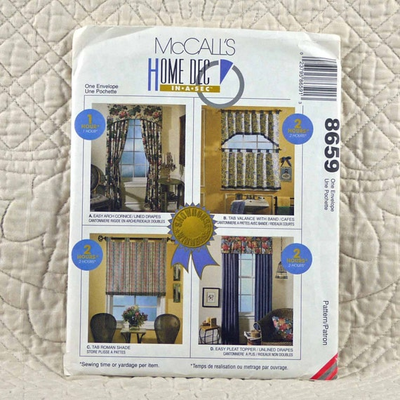 Window Treatments Pattern, McCalls 8659, Home Decor, Tab