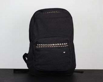 Dome Studded Laptop Backpack Canvas with Leather Accents