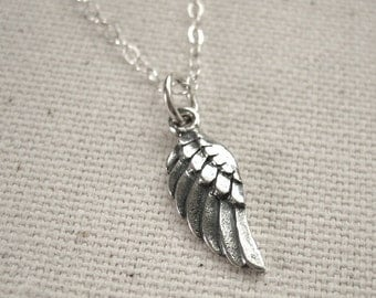 Little Angel Wing Necklace Solid Sterling Silver - Memorial Jewelry - Customize Personalized