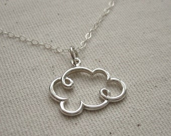 Sterling Silver Cloud Necklace - Nature Jewelry Customize, Personalize