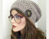 Taupe Slouchy Beanie Hat, Women's Slouchy Beanie, Accessories,Crocheted hat, Winter Hat, Handmade, crocheted beanie, Hat with button