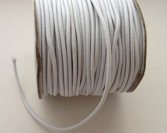 6 feet of 2mm White Elastic Cord - Fabric Covered Rubber
