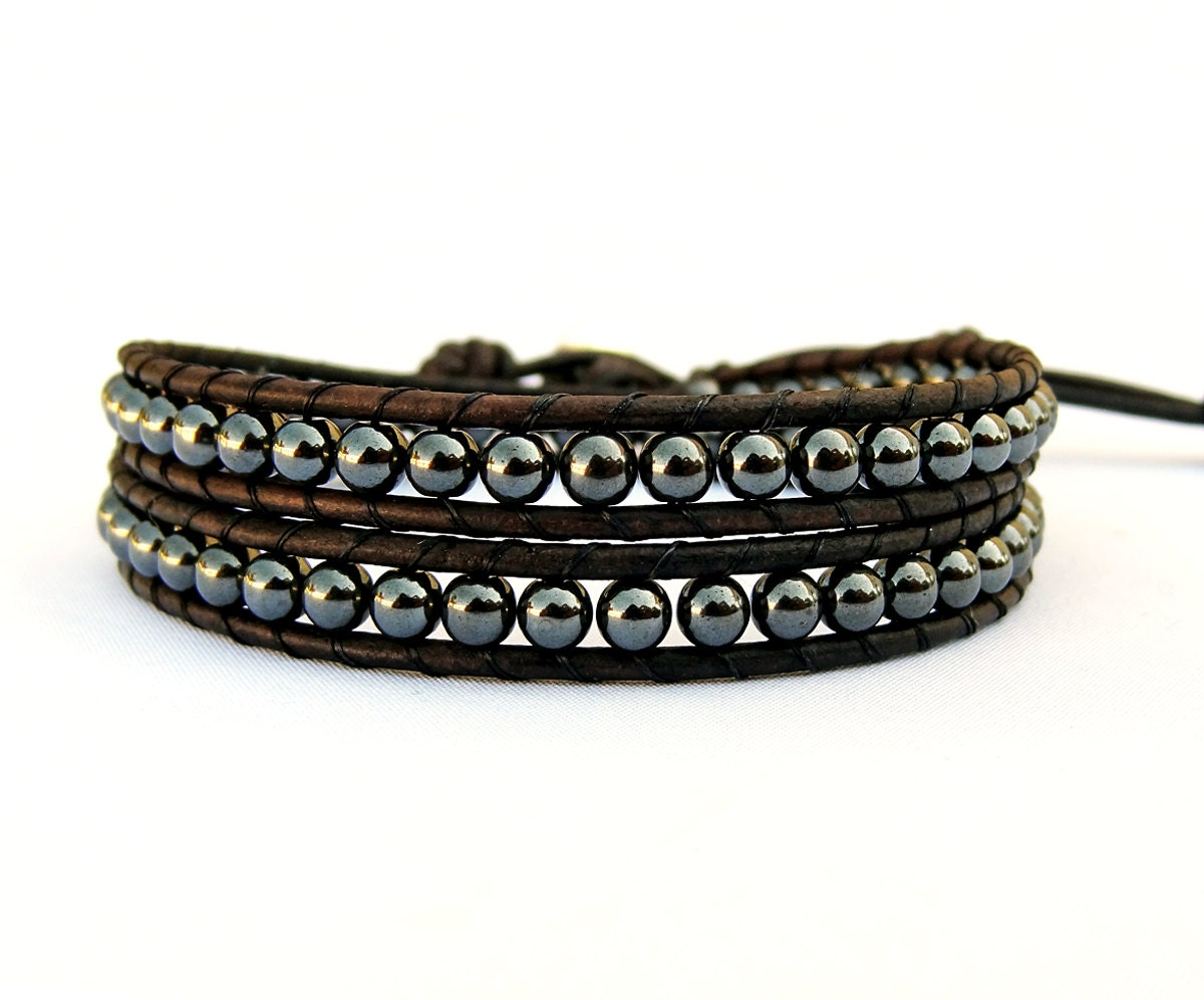 Mens Leather Bracelet Unisex Hematite Bead Black Leather Wrap
