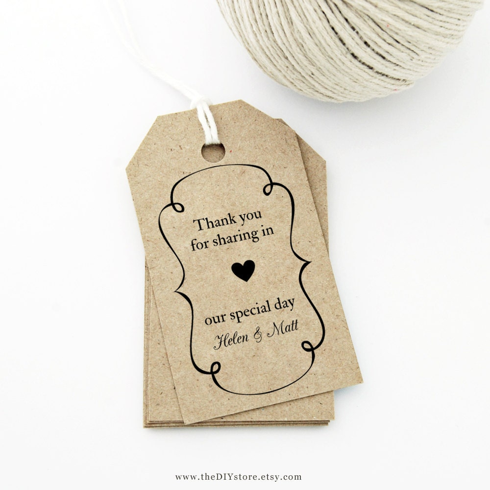 Wedding Shower Favor Tag Template : Favor Tag Template MEDIUM Swirly Frame and Heart Design