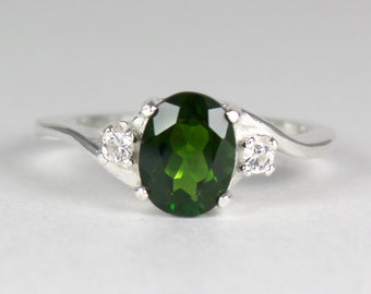 Russian Chrome Diopside Sterling Silver Ring / Chrome Diopside Silver Ring