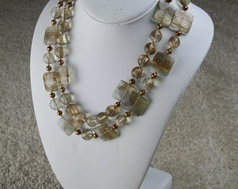 Golden Quartz Stone and Freshwater Pearls Double Strand Beaded Necklace