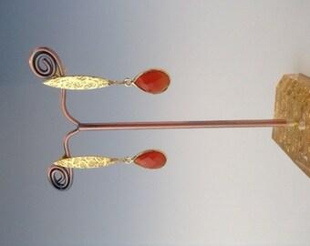 Carnelian Earrings ~ Autumn jewelry - Carnelian jewelry - Orange jewelry - jewelry gift - gold earrings ~ post earrings - Autumn Spice