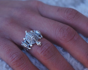 sterling silver turtle ring mother with babies moternal love jewelry family ring - Hypoallergenic Wedding Rings