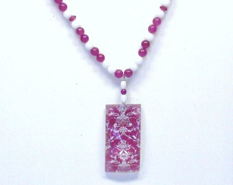 Handmade Beaded Necklace in Rose and White with a Rectangular Damask Pendant